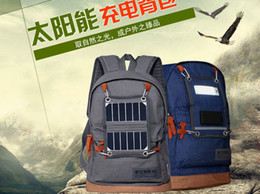 Wholesale professional solar outdoor bag fasion solar charger rucksack backpack with battery and LED light for hiking travelling and ourdoor sports