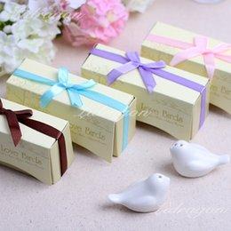 Wholesale Promotion DHL quot Love Birds In The Window quot Ceramic Salt Pepper Shakers Wedding Favors boxes