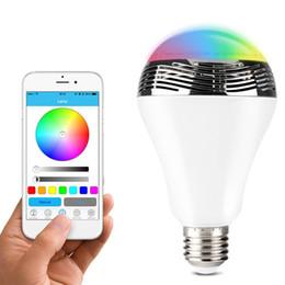 Wholesale NEWEST Smart LED Light Bulb Wireless Bluetooth Audio Speakers W E27 LED RGB Light Music Bulb Lamp Color Changing via WiFi App Control
