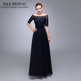 Real Picture Navy Blue Evening Dresses 2016 Half Sleeve Beaded Chiffon Formal Mother of the Bride Groom Dresse Appliqued Lace Formal Gowns