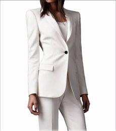 Wholesale Slim Fit Custom made Ivory Women Pant Suits Shawl Lapel Fashion Long Sleeve Ladies One Button Jacket Pants