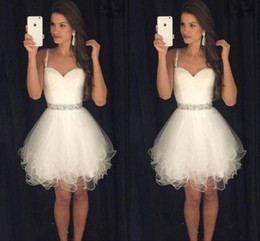 Custom Made White Short Homecoming Dresses Sweetheart Spaghetti Straps Pleated Tulle Crystal Short Prom Dresses Petite Cocktail Party Dress