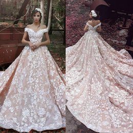 Luxury 2019 Full Lace Wedding Dresses Off Shoulder Appliques Wedding Gowns Cathedral Train Hollow Back Vintage Bridal Dress Custom Made
