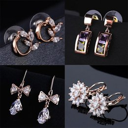 Discount DHL& Wholesale 60pcs lot Quality 18KGP Rose Gold Earrings Fashion Crystal CZ Earrings CZ Crystal Pearl Alloy 150816-1