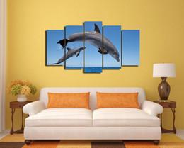 Descuento marcos libres Envío libre, 5 pedazos (ningún capítulo) Animales Impresión de la sala de estar del cartel de los delfínes de los animales Impresión realista de la pintura al óleo en la LONA -252
