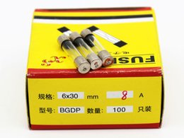 100pcs lot 8A 6*30MM Fuses Fast Quick Blow Glass Tube Fuse 6x30mm 250V 8A F8AL250V