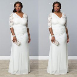 Newest Plus Size Wedding Dresses Fitted Sheath Column Asymmetrical Fabric V Neck Illusion Lace Half Sleeves Ruched Chiffon Bridal Gowns