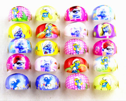 Wholesale Brand New Kids Round Cartoon resin multicolor favor party jewelry rings job