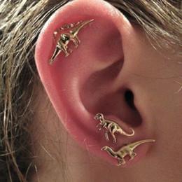 Boho rock animal dinosaur metal stud earring multiple stud set earrings for women men 3Pairs Set R101