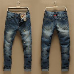 Wholesale 2016Famous fashion designer de marque hommes jeans Slim trou droit déchiré rétro Vintage denim pantalon coton pantalon occasionnels jeans motard Fake Zipp