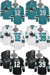 Wholesale 2016 Men s San Jose Sharks Patrick Marleau Logan Couture Black White Green Stanley Cup Final Bound Jerseys