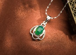 925 Pure Silver Jade Pendant with 925 Hallmark, Free Shipping Silver Jewelry Wholesale- PS03158