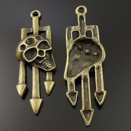 Wholesale 14PCS Pack Antique Bronze Zinc Alloy Fork Skull Head Pendant Charm Jewelry Finding MM jewelry making