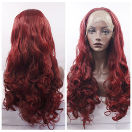 Cheap Sexy Burgundy Red Body Wave Long Wigs with baby hair Glueless Brazilian Synthetic Lace Front Wigs for Black Women Heat Resistant