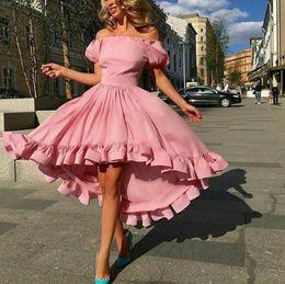 Pink Off Shoulder High Low Prom Dresses 2017 Juliet Short Sleeve Ruffles Evening Gowns Saudi Arabic Formal Party Dresses Custom Made