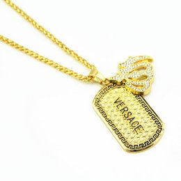 Wholesale Gold Plated mens Hip hop Allah ALASD Aladdin lamp mens Dog Tag Pendants Chain Necklace