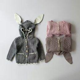 Wholesale Hug Me Girls Sweater Christmas Kids Clothing Autumn Winter Cute Rabbit Ears Sweater Korean Fashion Long Sleeve Cardigan Sweater ER