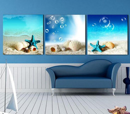 Wholesale Shell Oil Paintings Modern - Framed 100% Hand-painted High Quality Modern Abstract Seascape Oil Painting on Canvas Shell & Starfish Home Wall Decor Paintings 3pcs set