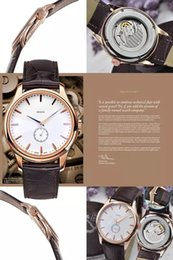 Wholesale 2016 new high end brand watches perfect craft rose gold bezel black dial and white leather fashion watch automatic movement Men s Watch