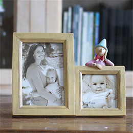 Wholesale Double Frames Cute Doll Resin Baby Picture Frames Home Decor Photo Frames Bridal Shower Wedding Favor Gifts