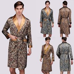 Wholesale-2016 Plus Size Mens Robe Bathrobe Imitation Satin Silk Pajamas Kimono Long Sleeve sleepwear V neck men sleeping robe