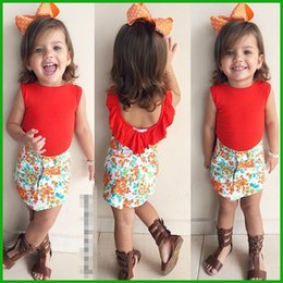 high quality fashion hot selling baby girls clothing set sleeveless solid red t-shirts floral short pants party casual children outfits