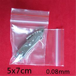 2017 sac de rangement clair 5x7cm 1000pcs 0.08mm PE Clair Self Sealing Zip Lock sac / Sacs d'emballage en plastique / Blanc transparent fermeture à glissière sac d'emballage refermable sac de rangement clair sur la vente