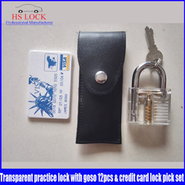Wholesale Hot sale Lock Pick Set with Transparent Padlock and Credit Card Lock Picking Tool Kit for Beginner and Pro Locksmiths