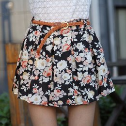 Wholesale 2016070610 Summer Women Elastic Pleated Shorts Skirts Plus Size Chiffon Sexy Cute Girls Floral Printed Ball Gown Shorts Sun Skirts