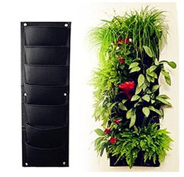 Wholesale 7 Pocket Vertical Garden Plant Grow Container Bags Living Wall Hanging Planter Eco friendly Green Field Pot for Herbs Strawberries Flowers