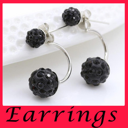 Wholesale Silver crystal ball ball stud earrings Han edition of high grade earrings Allergy shambhala ball earrings fashion jewelry