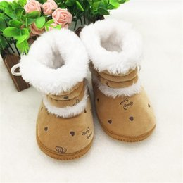 Wholesale HOT Months Newborn Baby Girl Snow Boots Fashion Lovely Infant Toddler Kid Soft Plush Winter Warm Boot Botas Bootie Shoe