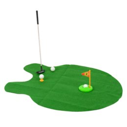 Wholesale Funny Toilet Bathroom Mini Golf Mat Potty Putting Putter Adult Game Set Men s Toy Novelty Gift
