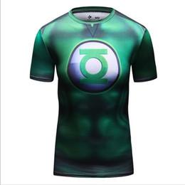 Camiseta de la linterna del verde del superhéroe de la película de la maravilla de los hombres Camiseta corriente de la gimnasia de la aptitud del deporte de los hombres del jersey Camisa seca rápida de la compresión desde camiseta para correr verde fabricantes