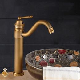 Wholesale Vintage Single Hanle Mixer Taps Swivel Lavatory Basin Taps Basic Style Antique Brass Tall Spout Vessel Bathroom Faucet
