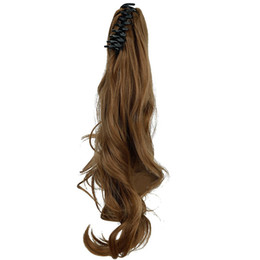 """La mandíbula para el cabello en Línea-Venda al por mayor-18 """"(los 46cm) clip ondulado largo grande de la pinza de la garra de Brown de la pinza en extensiones del pelo"""