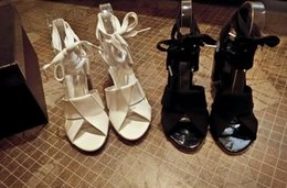 korean style~b095 34 genuine leather cross tied thick heel sandals black white luxury designer runway sexy summer fashion women