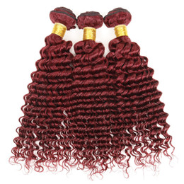 8A Peruvian Hair 3Bundles 99J Deep Curly Human Hair Wine Red Deep Wave Weaves Extensions Peruvian Burgundy Hair On Sale