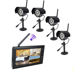 Wholesale 7 inch TFT Digital G Wireless Cameras Audio Video Baby Monitors CH Quad DVR Security System V1 F1621A