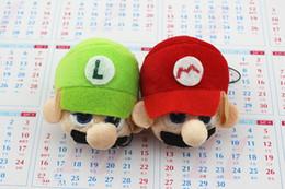 Wholesale Super Mario Plush Cartoon Action Figures Stuffed Toys Mario Brothers Head Keychain Cellphone Backpack Pendant