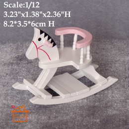 Wholesale 1 scale Hobby Horse Dollhouse Miniatures Rocking Horse BB Room Toys Furniture