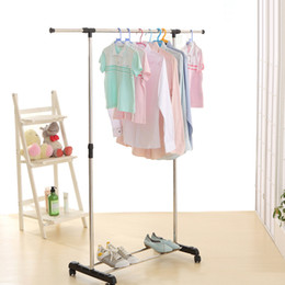 Wholesale IKAYAA Metal Height Adjustable Coat Clothes Garment Hanging Rack Width Extendable Clothes Display Organizer Shoes Rack
