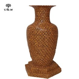Wholesale 2016 Hot selling New style design handmade walnut weaving vase with excellent quality used for families decorative