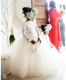 Vintage Wedding Flower Girl Dresses Ivory Tutu Ball Gown Lace Applique with Long Sleeves Floor Length 2016 Princess Child Communion Dresses
