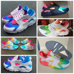 Wholesale 2016 Huarache Sneakers Femmes Et Hommes Huaraches Huarache Couleur Blanc Bleu Chaussures De Course Sneakers Air Huarache Rainbow Chaussures Taille