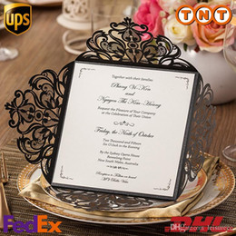 Wholesale Black Lace Hollow Wedding Invitations Laser Cut Open Wedding Cards High grade Wedding Supply Free Printing CW519_BL