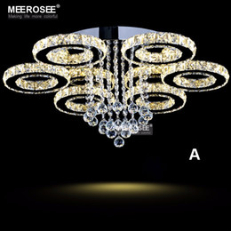 Modern LED Crystal Chandelier Ring Circle Lustre Ceiling Light Lighting Crystal Light Fixture Cristal Lustre Flush Mounted Lamp Home Bedroom