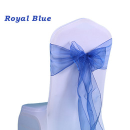 """100pc Wedding Chair Bow Sashes Organza Pearl Yarn chair Cover Bow Tie for Wedding Gift Vintage Party Decoration 7""""X108"""" Sheer Organza Bow"""