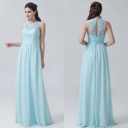 Cheap Bridesmaid Dresses Floor Length Chiffon Lace Long Maid Of Honor Dresses Floor Length Sheer Bridesmaid For Girls
