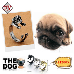 Dog Ring Pet Antique Vintage Animal Puppy Wrap Adjustable Resizeable Open Gift Knuckle Ring